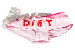Inscription pills made on the pink panties Royalty Free Stock Images