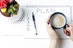 Inscription Plan in notepad, close-up, top view, concept of planning, goal setting.  stock image