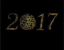 Inscription of 2017 points of light on a black background isolated. Stylized inscription with the wishes of a Happy New Stock Photos