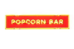 Inscription popcorn bar made from neon lights Royalty Free Stock Images