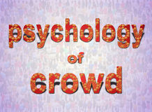 Inscription psychology of crowd on the background of people. Patterned inscription psychology of crowd on the background of people Royalty Free Stock Image