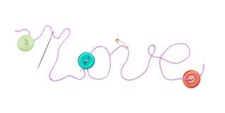 Inscription purple thread the word love Stock Photo