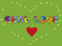 Inscription Real love. Colored Letters stock photos