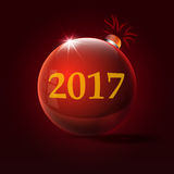 2017 inscription at the red Christmas toy. New year inscription at the red Christmas toy Royalty Free Stock Image