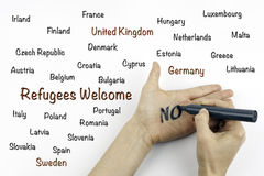 Inscription - Refugees welcome. White background royalty free stock photography