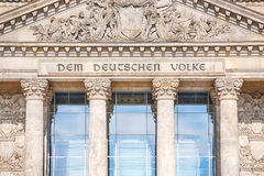 Inscription on the Reichstag building Stock Photography