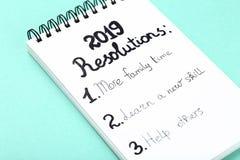 Inscription 2019 resolutions stock image
