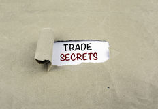 Inscription revealed on old paper - TRADE SECRETS Royalty Free Stock Photos