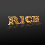 Inscription rich. On a black background there is a word rich, written by the chrome plated letters Stock Images