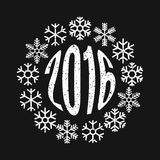 Inscription 2016 in the ring of snowflakes. The inscription 2016 in the ring of snowflakes. Festive design element or template for banner, card, invitation Royalty Free Stock Photo