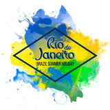 Inscription Rio de Janeiro on a background watercolor. Stains, colors green, yellow, Brazil Carnival,watercolor paints. Summer, ink color Stock Photography