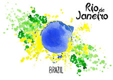 Inscription Rio de Janeiro Brazil on background watercolor stains. Hand-drawn texture. Brazilian flag made of colorful splashes  Signs, symbols. Carnival Royalty Free Stock Images