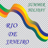 Inscription Rio de Janeiro summer holiday. Tape on a checkered background ,colors of the Brazilian flag, Brazil Carnival Stock Photography