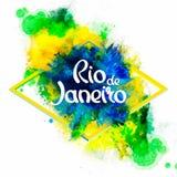 Inscription Rio de Janeiro sur des taches d'aquarelle de fond illustration stock