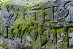Inscription on a rock in the Bastei which is in the Elbe Sandstone Mountains near Dresden. royalty free stock image