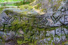 Inscription on a rock in the Bastei which is in the Elbe Sandstone Mountains near Dresden. royalty free stock photography