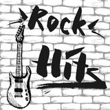 The inscription - Rock Hits and Guitar on a brick wall. Vector illustration Royalty Free Stock Image