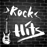 The inscription - Rock Hits and Guitar on a brick wall. Vector illustration Royalty Free Stock Photos