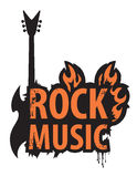 Inscription of rock music vector illustration