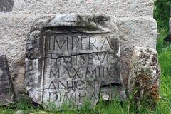 Inscription romaine sur une roche Photo libre de droits