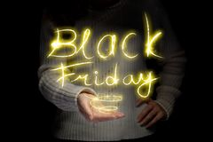 Inscription rougeoyante Black Friday image stock