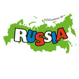 Inscription Russia  in Russian flag colors on the map background Stock Image