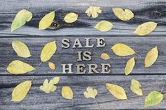 Inscription. Sale is here. Wooden letters. Frame of yellow leave. S, wooden background Stock Images