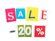 Inscription Sale - 20 made of colorful letters isolated on white . Stock Photo