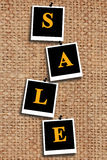 Inscription sale on the sacking fabric Royalty Free Stock Photography