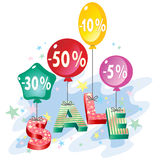 The inscription on sale store discounts. And balloons Stock Photography