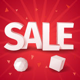 Inscription sale with two abstract object sphere and box Royalty Free Stock Photos