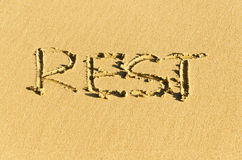 Inscription on the sand Stock Photography