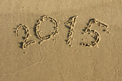 The inscription on the sand 2015 royalty free stock image