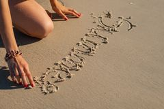 Inscription on the sand Stock Photo