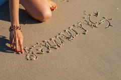 Inscription on the sand Royalty Free Stock Photos