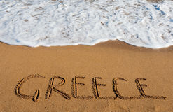 Inscription on the sand-Greece Stock Images