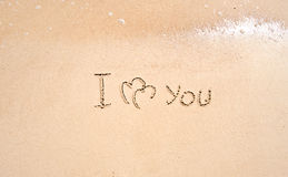 Inscription on sand I love you Royalty Free Stock Photography