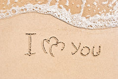 Inscription on sand I love you Royalty Free Stock Images