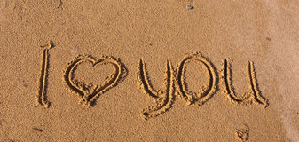 The inscription on the sand - I love you Stock Photography