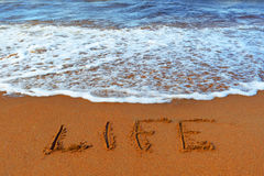 Inscription on sand: life Stock Photography