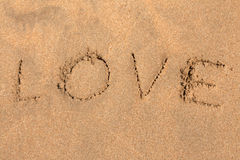 Inscription on sand LOVE Royalty Free Stock Photos