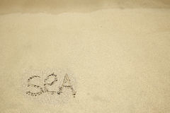 The inscription on the sand by the sea Royalty Free Stock Image
