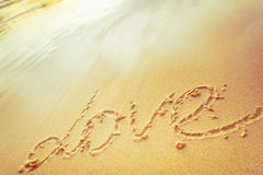 Inscription on sand Royalty Free Stock Photography