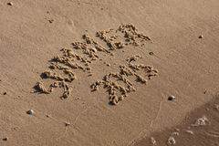 The inscription on the sand summer Royalty Free Stock Image