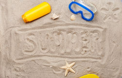 Inscription on the sand - summer Royalty Free Stock Photography