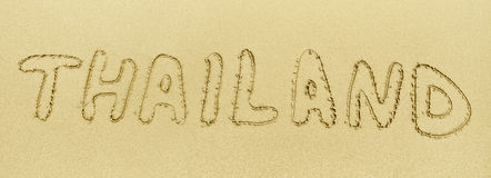 Inscription on the sand - Thailand Royalty Free Stock Photography