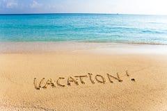 Inscription on sand vacation Royalty Free Stock Photo