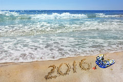 Inscription 2016 and sea, summer Stock Photography