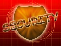 Inscription security and shield Stock Photos