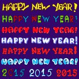 Inscription set -  happy new year. Vector text set - happy new year for design of greeting card Royalty Free Stock Images